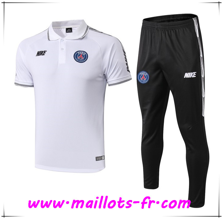 Ensemble Polo Paris PSG NIKE + Pantalon Blanc 2019 2020
