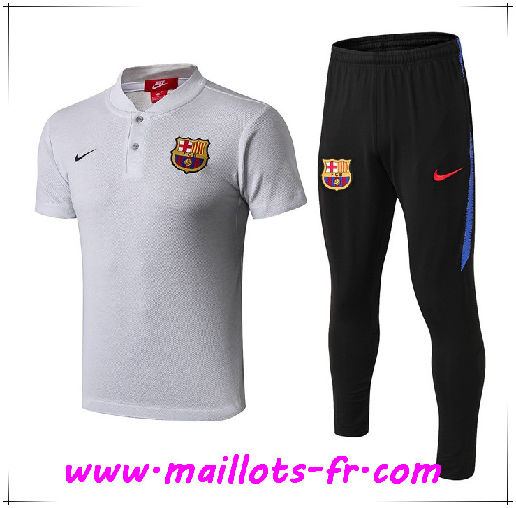 Ensemble Polo FC Barcelone + Pantalon Gris clair 2019 2020