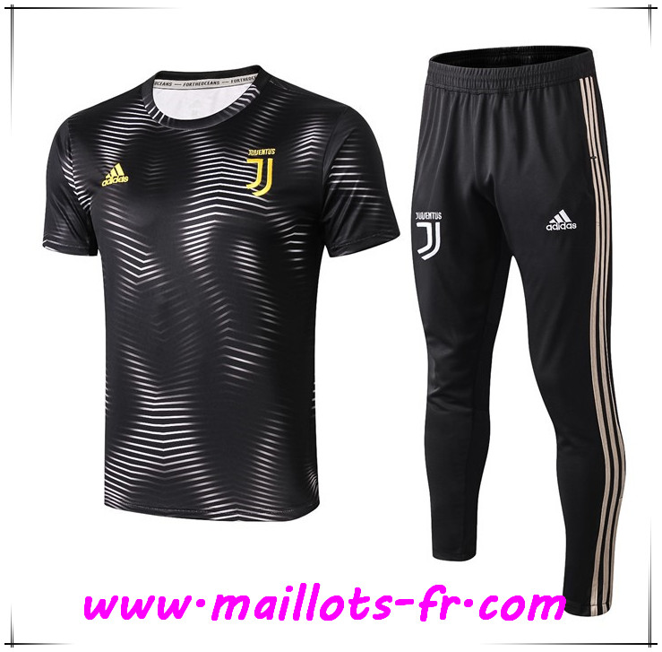 Ensemble PRÉ MATCH Training Juventus + Pantalon Ondulation Noir 2019 2020