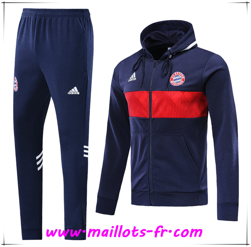 Ensemble Sweat A Capuche Survetement Bayern Munich Bleu Fonce 2019/2020