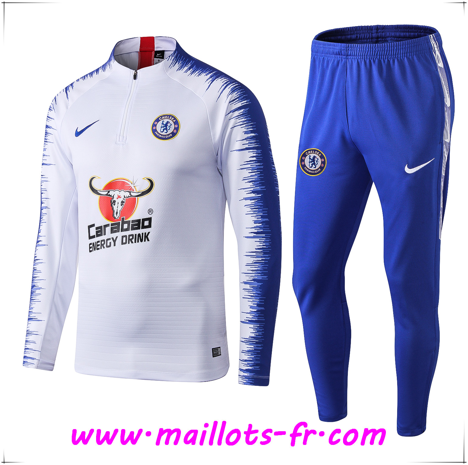 Ensemble Survetement de Foot FC Chelsea Blanc Strike Drill 2019/2020
