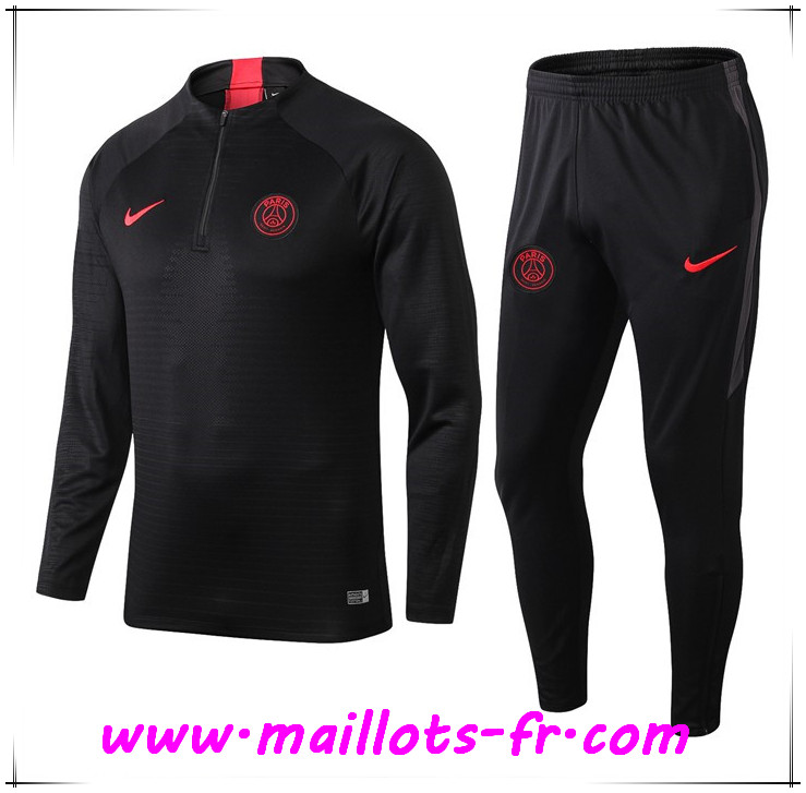 Ensemble Survetement de Foot PSG Noir 2019 2020