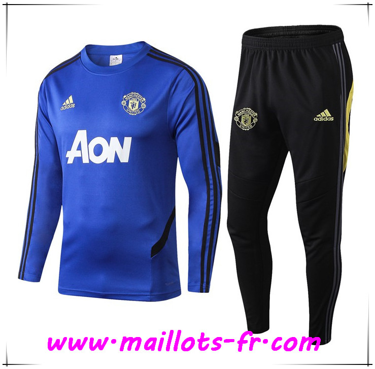 Ensemble Survetement de Foot Manchester United Bleu 2019 2020