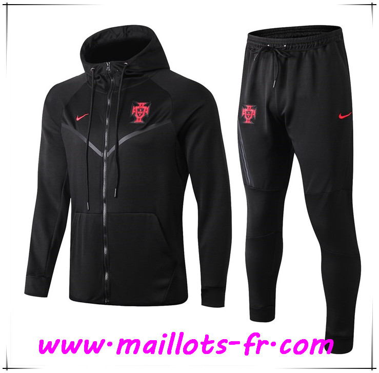 Veste A Capuche Survetement Foot Portugal Noir 2019/2020