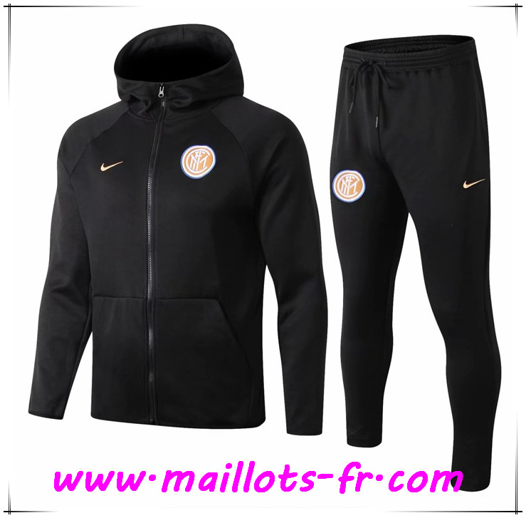 Veste A Capuche Survetement Foot Inter Milan Noir 2019/2020