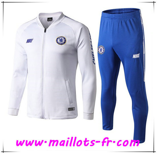 Ensemble Survetement de Foot - Veste FC Chelsea Blanc 2019/2020