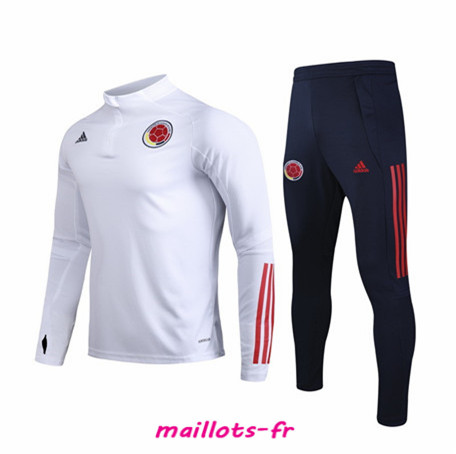 Nouveau Ensemble Survetement de Foot Colombie Blanc sweat zippé 2020/2021