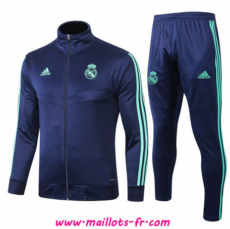 nouveau Ensemble Survetement de Foot - Veste Real Madrid Bleu Marine 2019/2020