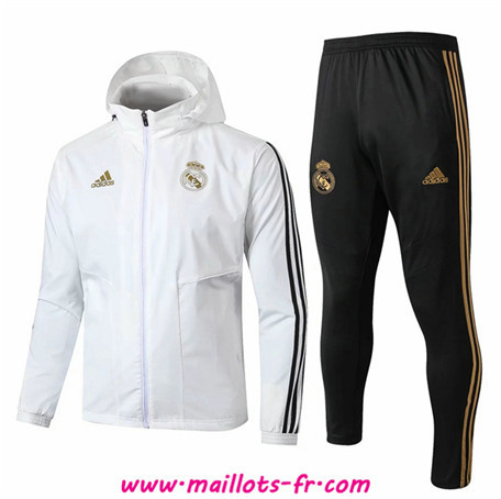 nouveau Ensemble Survetement de Foot Real Madrid Coupe vent Blanc/Noir à Capuche 2019/2020