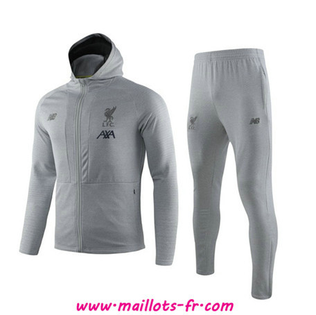 nouveau Ensemble Survetement de Foot - Veste Liverpool Gris à Capuche 2019/2020