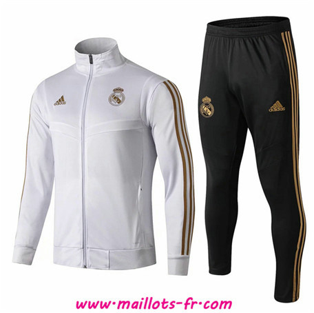 Ensemble Survetement de Foot - Veste Real Madrid Enfant Blanc/Noir 2019/2020