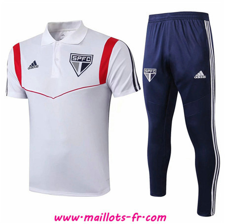 Ensemble Training Sao Paulo + Pantalon POLO Blanc/Bleu Marine 2019/2020