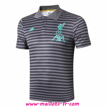 PRÉ MATCH Training Liverpool POLO Gris bande Noir 2019/2020