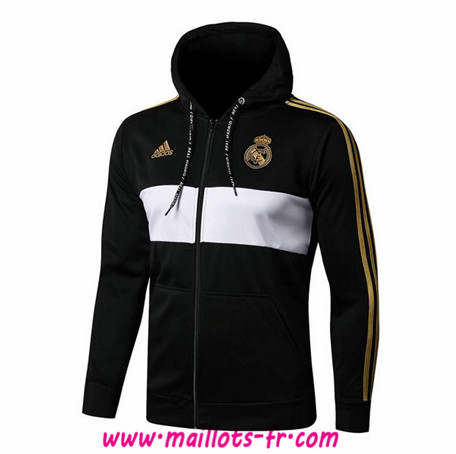 Veste Foot Real Madrid Noir/Blanc 2019/2020 a Capuche