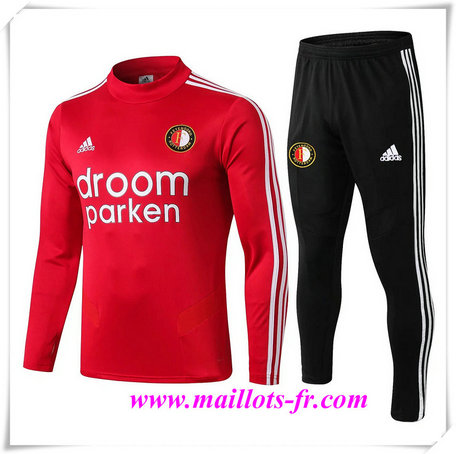 Ensemble Survetement de Foot Feyenoord Rouge + Short Noir 2019/2020