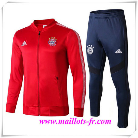 nouveau Ensemble Survetement de Foot - Veste Bayern Munich Rouge + Short Bleu 2019/2020 col bas