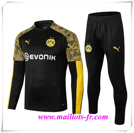 Ensemble Survetement de Foot Borussia Dortmund BVB Noir 2019/2020