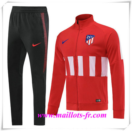 nouveau Ensemble Survetement de Foot - Veste Atletico Madrid Rouge/Blanc + Short Noir 2019/2020 Col Haut