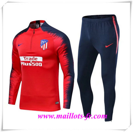 Ensemble Survetement de Foot Atletico Madrid Rouge + Short Bleu 2019/2020 Strike Drill