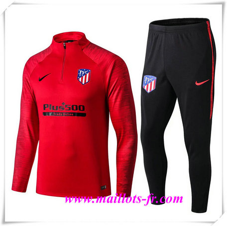 Ensemble Survetement de Foot Atletico Madrid Rouge/Noir 2019/2020 Strike Drill