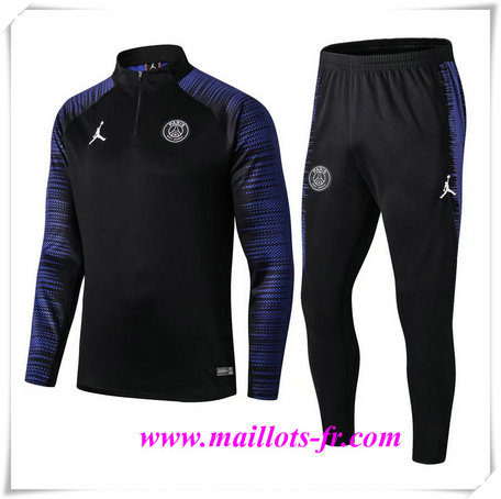 Ensemble Survetement de Foot PSG Noir 2019/2020 Bleu Strike Drill