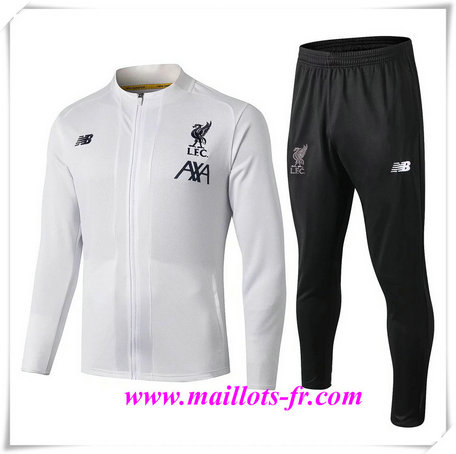nouveau Ensemble Survetement de Foot - Veste Liverpool Blanc + Short Noir 2019/2020
