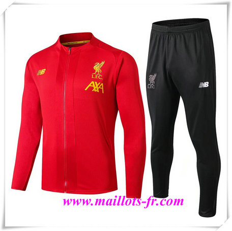 nouveau Ensemble Survetement de Foot - Veste Liverpool Rouge + Short Noir 2019/2020