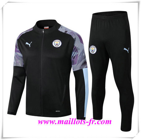 nouveau Ensemble Survetement de Foot - Veste Manchester City Noir/Violet 2019/2020