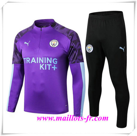 Ensemble Survetement de Foot Manchester City Violet + Short Noir 2019/2020
