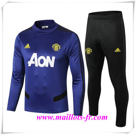 Ensemble Survetement de Foot Manchester United Bleu Marine 2019/2020 Col Rond