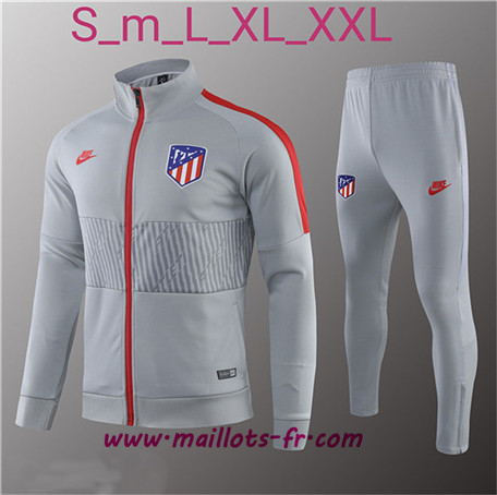 Thailande Survetement Foot - Veste Atletico Madrid Gris Ensemble Homme 2019 2020