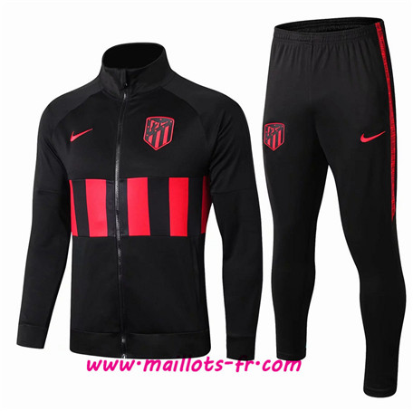 Thailande Survetement Foot - Veste Atletico Madrid Noir/Rouge bande Ensemble Homme 2019 2020
