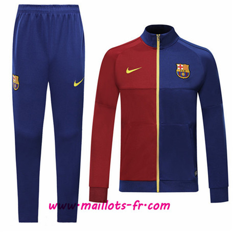 Thailande Survetement Foot - Veste Barcelone Bleu/Rouge Ensemble Homme 2019 2020