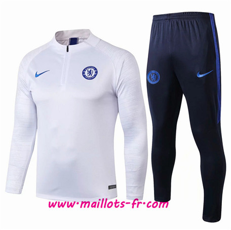 Thailande Survetement Foot Chelsea Blanc/Bleu Marine sweat zippé Ensemble Homme 2019 2020