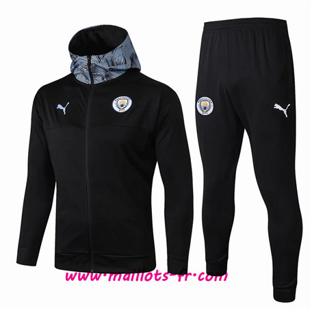 Thailande Survetement Foot - Veste Manchester City Noir/Bleu à Capuche Ensemble Homme 2019 2020