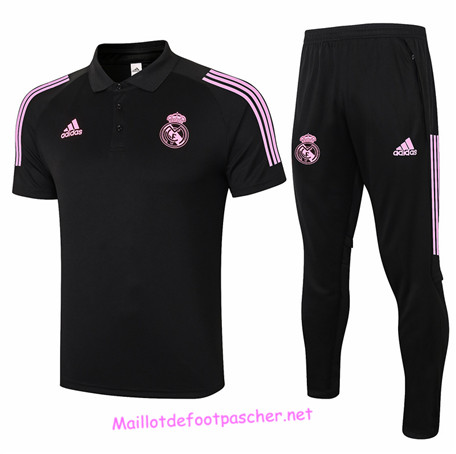 Maillotdefootpascher - Maillot foot Ensemble POLO Real Madrid + Pantalon Noir 2020 2021