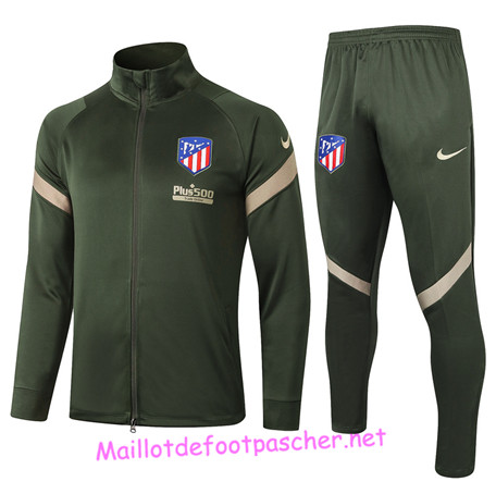 Maillotdefootpascher - Survetement de Foot - Veste Atletico Madrid Homme Armee Verte 2020 2021