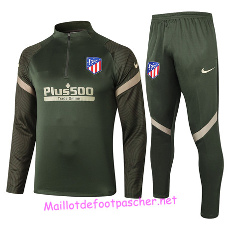 Maillotdefootpascher - Survetement de Foot Atletico Madrid Homme Armee Verte 2020 2021