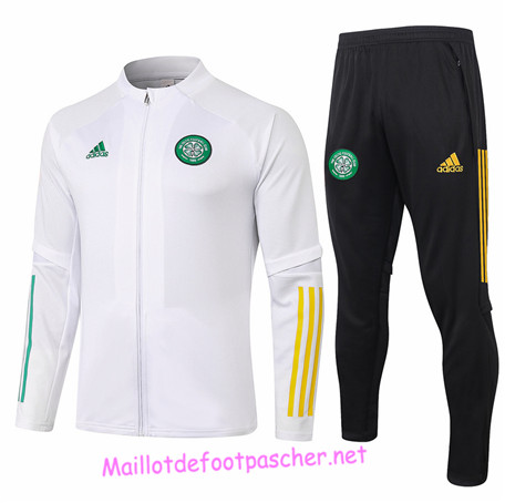 Maillotdefootpascher - Survetement de Foot - Veste Celtic Homme Blanc 2020 2021