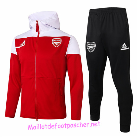 Maillotdefootpascher - Survetement de Enfant - Veste Arsenal à Capuche Rouge 2020 2021