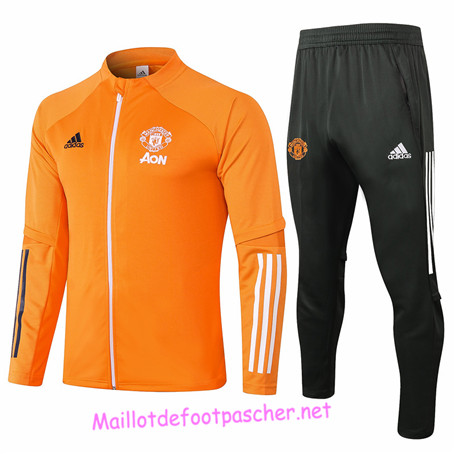 Maillotdefootpascher - Survetement de Enfant - Veste Manchester United Orange 2020 2021