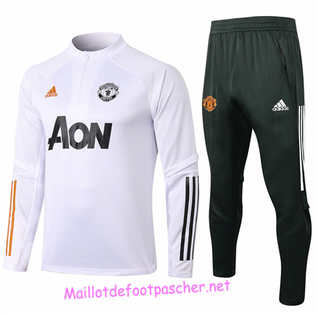 Maillotdefootpascher - Survetement de Enfant Manchester United Blanc 2020 2021