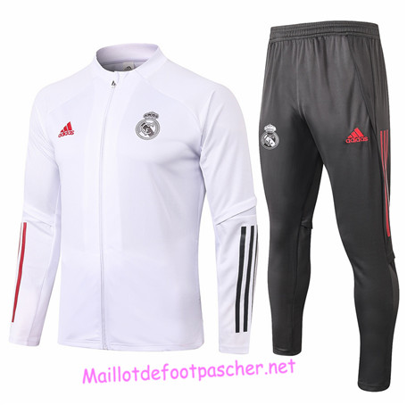 Maillotdefootpascher - Survetement de Enfant - Veste Real Madrid Blanc 2020 2021