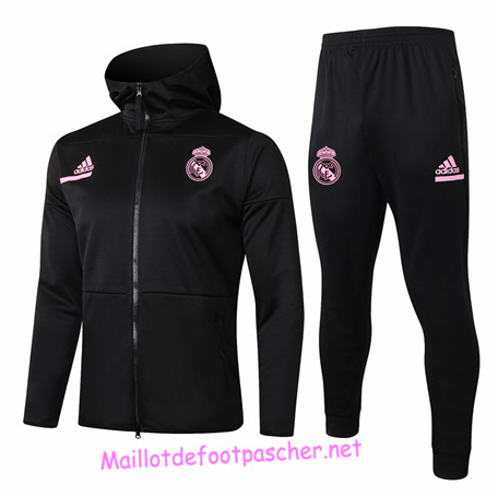 Maillotdefootpascher - Survetement de Enfant - Veste Real Madrid à Capuche Noir 2020 2021