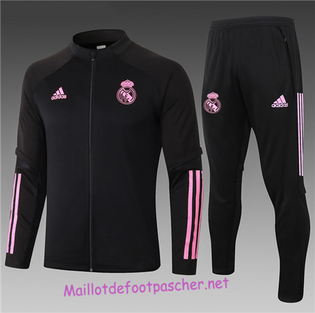 Maillotdefootpascher - Survetement de Enfant - Veste Real Madrid Noir/Rouge 2020 2021