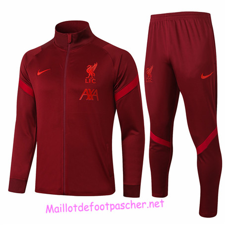 Maillotdefootpascher - Survetement de Foot - Veste Liverpool Homme Rouge 2020 2021