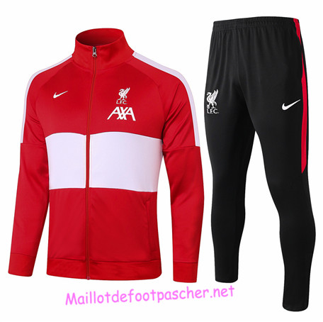 Maillotdefootpascher - Survetement de Foot - Veste Liverpool Homme Rouge/Blanc 2020 2021