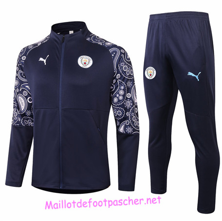 Maillotdefootpascher - Survetement de Foot - Veste Manchester City Homme Bleu Marine 2020 2021