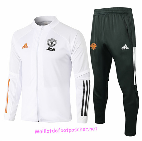 Maillotdefootpascher - Survetement de Foot - Veste Manchester United Homme Blanc 2020 2021