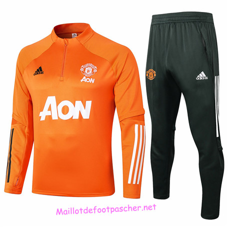 Maillotdefootpascher - Survetement de Foot Manchester United Homme Orange 2020 2021